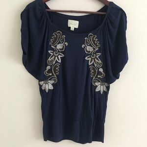 Anthropologie Deletta dolman Top navy silver